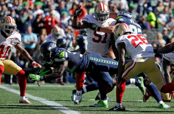 Christine Michael (center) and the Seattle Seahawks running game has struggled so far in 2016 | Source: Ted S. Warren - AP Photo