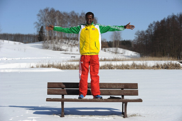 Imane Merga poses before the 2013 World Cross Country Championships (Getty/Christopher Lee)