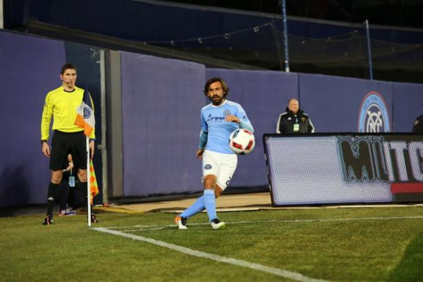 In spite of Andrea Pirlo's best effort, no one could find a breakthrough in this match. (Photo credit: NYCFC)