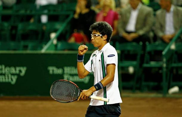 Hyeon Chung pumps his first during his second round match. Photo: Aaron M. Sprechner/ROCC