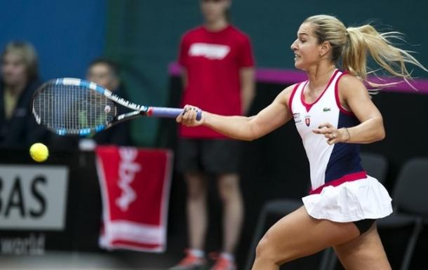 Dominika Cibulkova crushes a forehand during the first rubber. Photo: Roman Benicky/Fed Cup