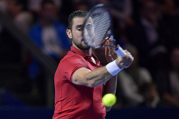 Cilic lines up a forehand. Photo: Harold Cunningham/Getty Images