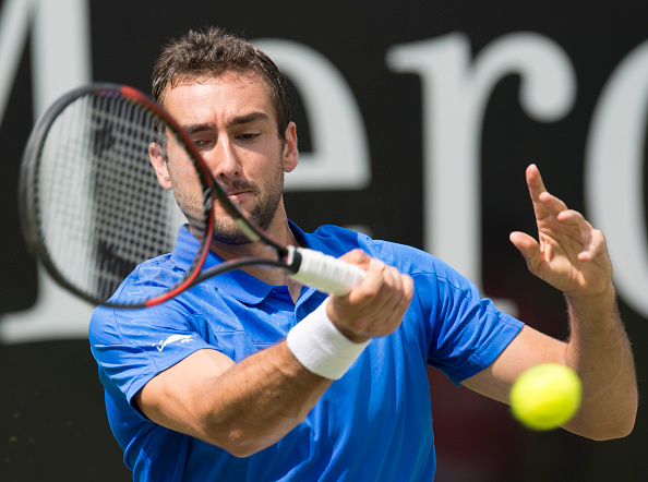 Marin Cilic plays a forehand last week in Stuttgart. Photo: Thomas Kienzle/AFP/Getty Images