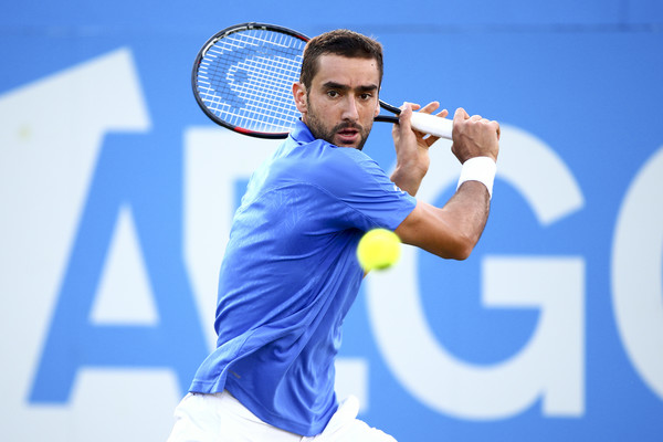 Marin Cilic slices a backhand during his second round win. Photo: Jordan Mansfield/Getty Images