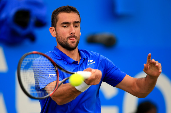 Marin Cilic plays a forehand during his semifinal loss. Photo: Ben Hoskins/Getty Images