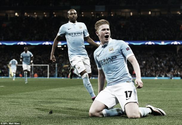 Above: Kevin de Bruyne scores in Manchester City's 1-0 win over Paris Saint-Germain | Matt West