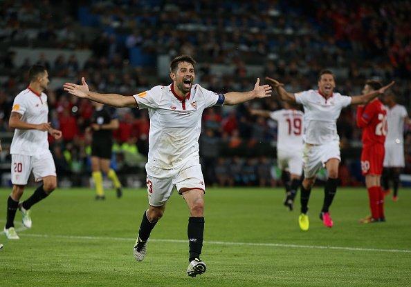 Celebración del tercero del Sevilla | Foto: UEFA