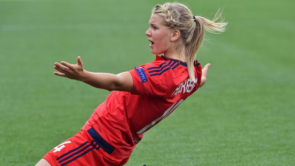 Hegerberg celebrates her opening goal. (Photo: UEFA)