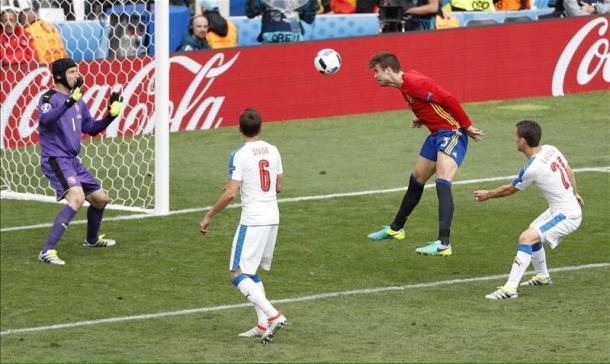 Il gol di Piqué. Fonte foto: it.uefa.com
