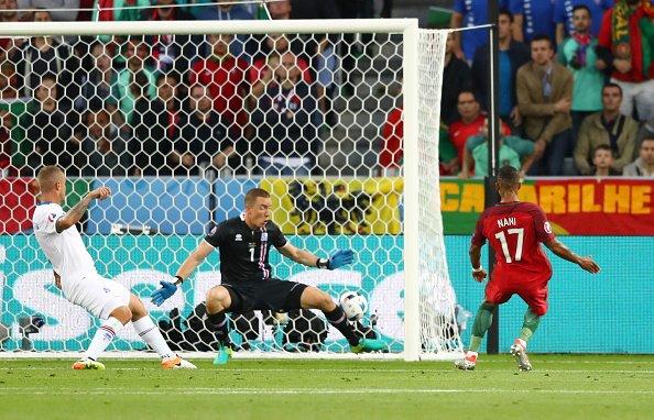 Nani scoring his goal versus Iceland | Photo: Getty