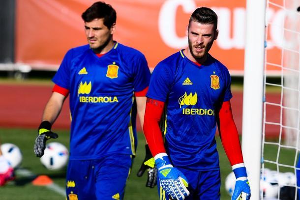 Casillas e De Gea in allenamento. Fonte: Getty Images Europe.