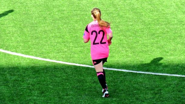 Erin Cuthbert comes on for her Scotland debut. (Photo: SFA)