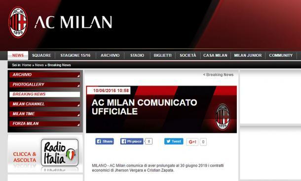 Il comunicato del club rossonero. Fonte: acmilan.com