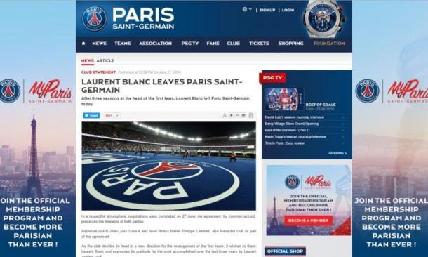 Il comunicato del club parigino. Fonte foto: psg.com
