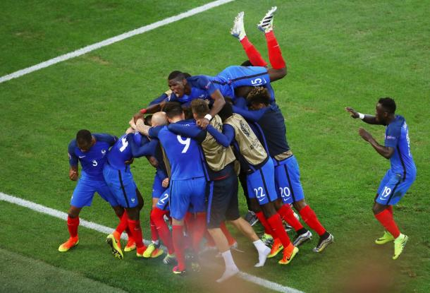 Jubilation for the French players, as Albanian hearts are broken.
