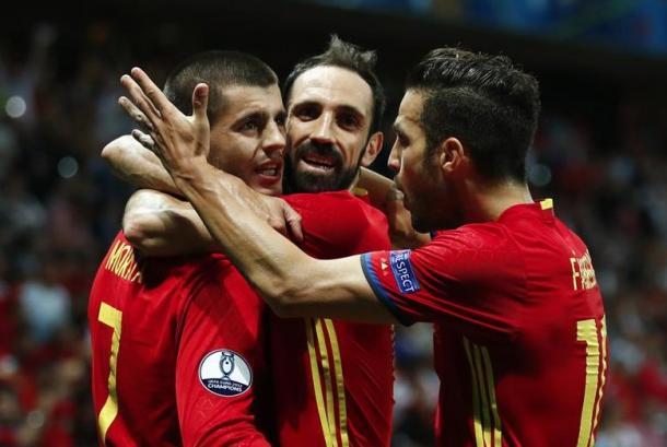 Morata, ispirato con la maglia Roja. Fonte foto: Getty Images.
