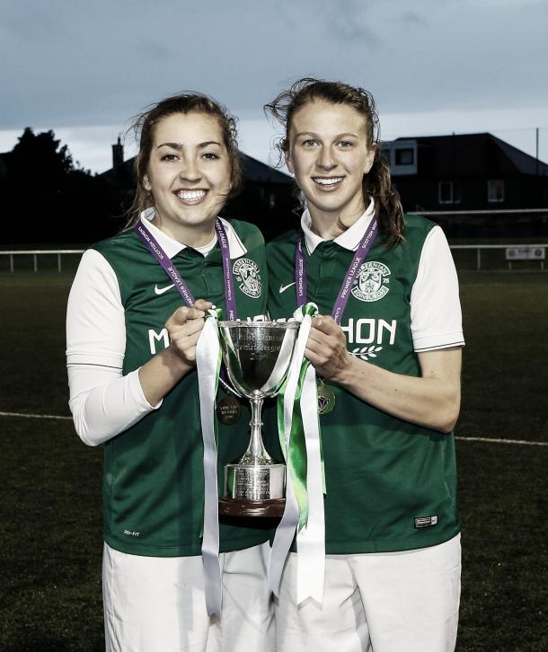 Clare Williamson and Lizzie Arnot pose with the trophy. (Photo: John Williamson)