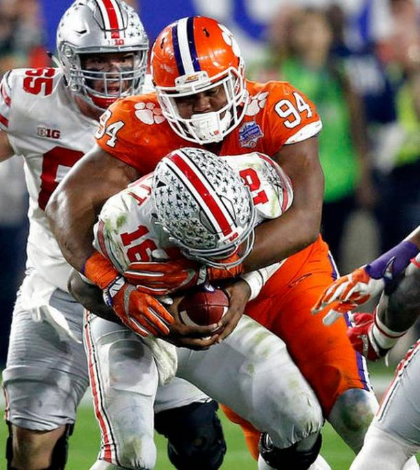 Watkins had two of Clemson's three sacks on the night, helping to lead a dominant Clemson defense/Photo: