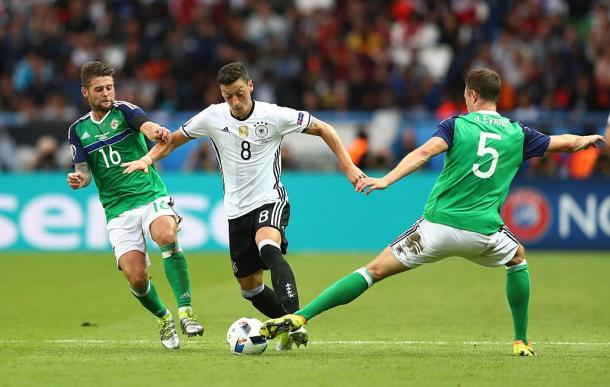 The Northern Ireland defence battled hard during the second half | Photo: Getty