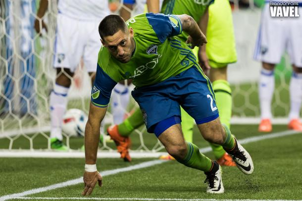 Clint Dempsey after scoring his first goal of the season against the Montreal Impact