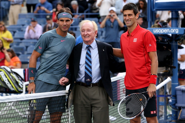 Laver poses with Nadal and Djokovic before the 2013 U.S. Open Men's Final. Credit: Clive Brunskill/Getty Images
