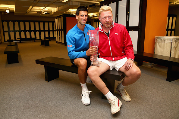 Novak Djokovic and Boris Becker pose after the Serbian's triumph at the Miami Open in 2015 (Getty/Clive Brunskill)