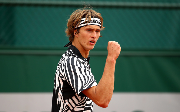 Zverev fist-pumps to his box after a terrific point during his second round victory. Credit: Clive Brunskill/Getty Images