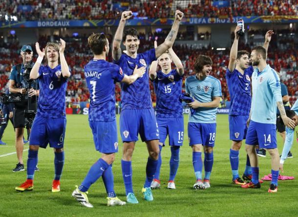 La festa croata dopo il successo sulla Spagna. Fonte foto: it.uefa.com
