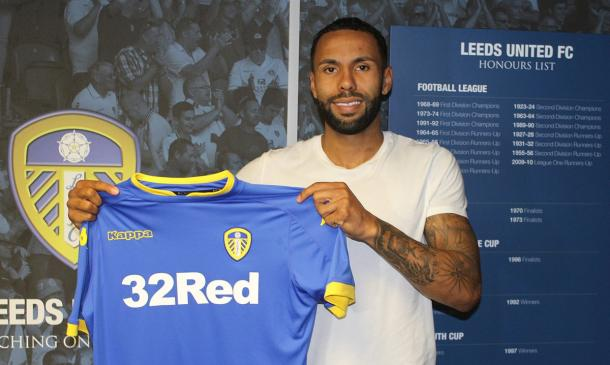 Bartley poses with his new club colours. (Photo: Leeds United FC)