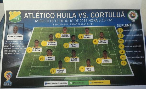 Nómina titular   Foto: Club Atlético Huila