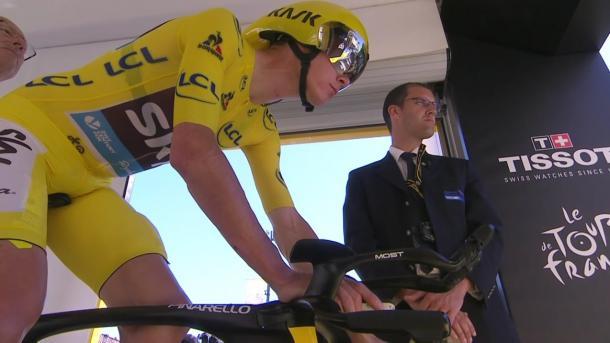 Froome, concentrado antes de salir   Foto: Tour de Francia