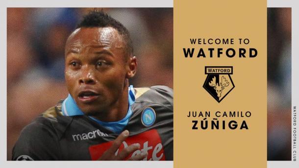 Il saluto del Watford a Zuniga. Fonte foto: Watfordfc.com