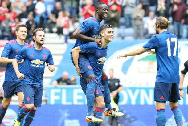 The United players celebrate Pereira's goal | Photo: Getty