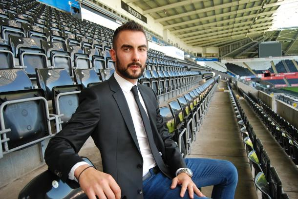 Mark Birightti been unveiled as a Swansea City player | Photo: Swansea City