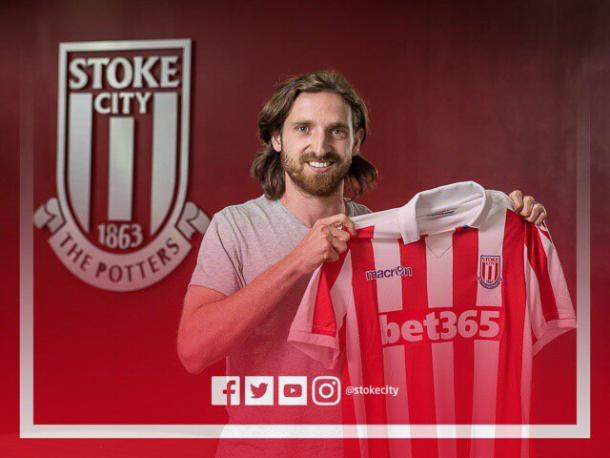 Above: Joe Allen been unveiled as a Stoke City player | Photo: Twitter