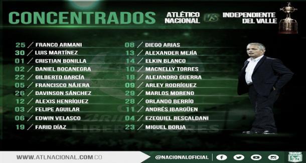 Foto: Twitter Oficial de Atlético Nacional