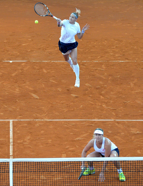 Vandeweghe/Mattek-Sands in Fed Cup action against Australia. Photo: Bradley Kanaris/Getty Images