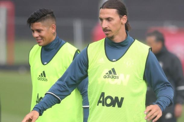 Zlatan training with his teammates ahead of the game against Galatasaray | Photo: Getty