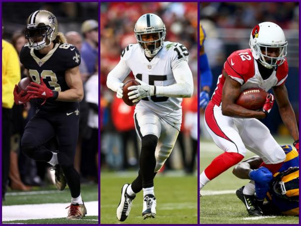 Willie Snead |Chris Graythen/Getty Images North America| Michael Crabtree |Jason Hanna/Getty Images North America| John Brown |Dilip Vishwanat/Getty Images North America|