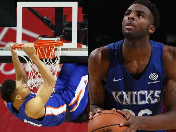 First-round pick Kevin Knox (left) and second-round pick Mitchell Robinson (right).
