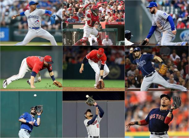 Each of the nine gold glove award winners at their respective position. |Getty Images|