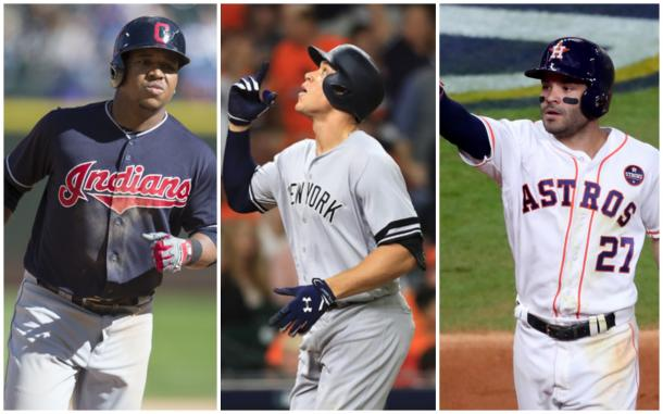Left to right: Jose Ramirez, Aaron Judge and Jose Altuve. |Getty Images|