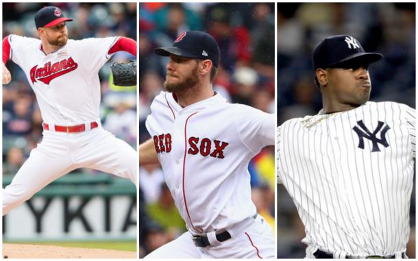 Left to right: Corey Kluber, Chris Sale, and Luis Severino. |Getty Images|