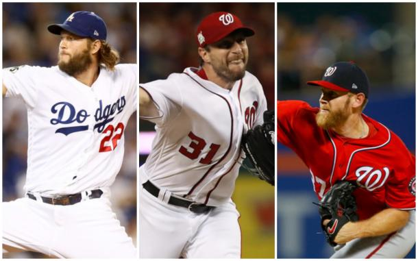 Left to right: Clayton Kershaw, Max Scherzer and Stephen Strasburg. |Getty Images|