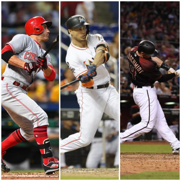 Left to right: Joey Votto, Giancarlo Stanton and Paul Goldschmidt. |Getty Images|