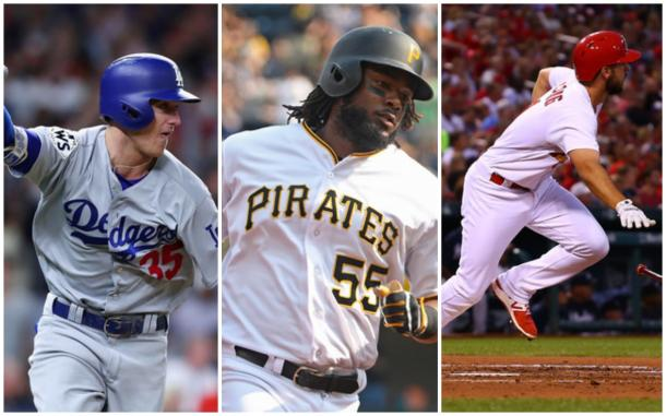 Left to right: Cody Bellinger, Josh Bell, and Paul DeJong. |Getty Images|
