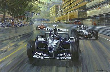 Colombian Magic, nombre de la pintura que retrató el momento de la victoria de Montoya en Mónaco. Imagen: Alan Fearnley