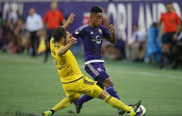 Columbus Crew right back Chad Barson (left, in yellow) may get his first start of the season against Real Salt Lake on Saturday. Photo credit: Alex Menendez/Getty Images Sport