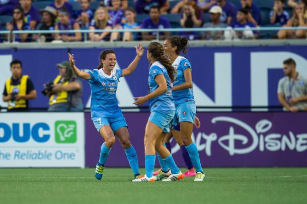 Comeau celebrates after scoring a goal. Photo: Chicago Red Stars Twitter