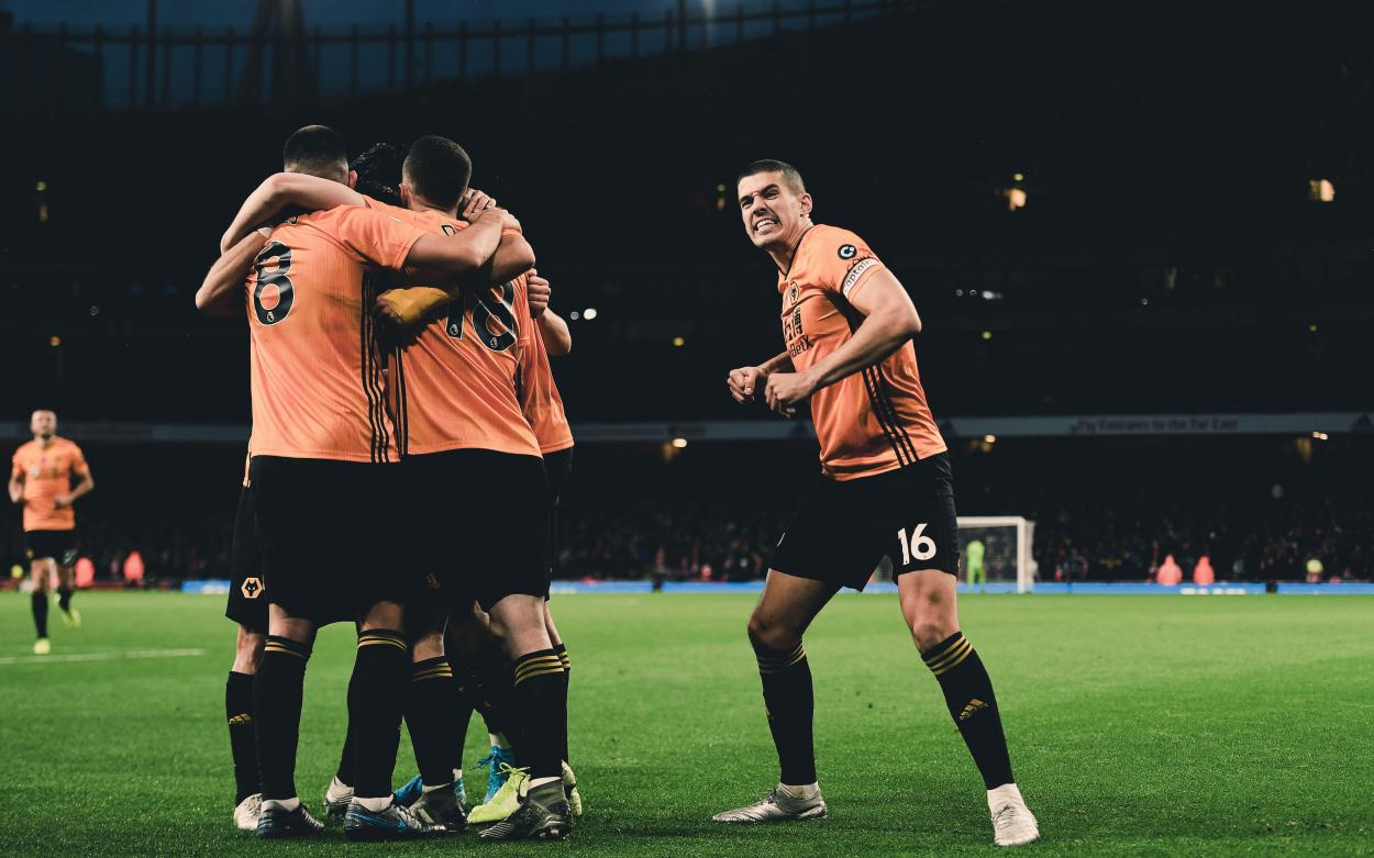 Connor Coady celebrating the victory. Photo:@wolves